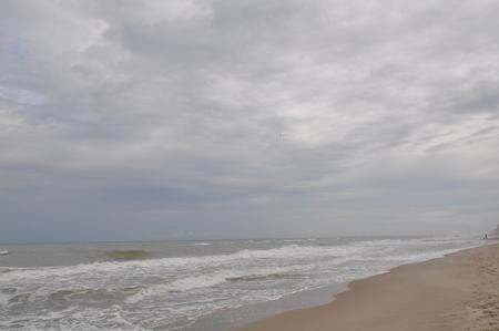 Black sea waves. Stormy day. Beach