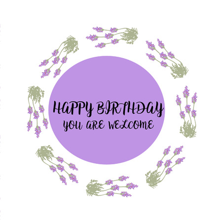 happybirthday: Greeting card with Lavender field and bouquet,violet