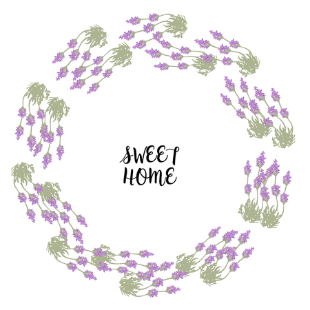 homeopathic: Bunch of lavender in circle frame for sweet home print, card, vector Illustration