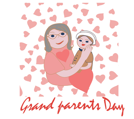 Grandparents day. Happy Family. Grandmother with grandson Vector
