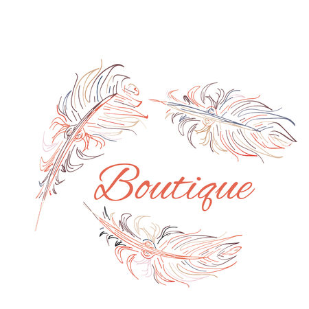 Hand drawn vector illustration. Isolated on white background. Design elements for shop fashion accessories, jewelry made of feathers.