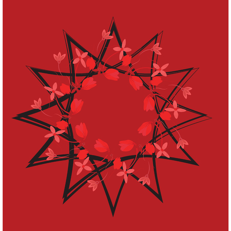 sacral: Abstract stylized red flower ,Sacral geometry. graphic design element for web design, prints on clothes and t-shirts, banners, web Illustration