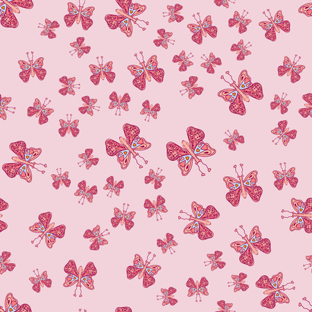 hand drawn butterfly pattern, cute elegant design for print Illustration