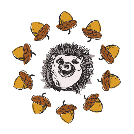 illustration of smiling hedgehog. Isolated on white. Cute cartoon character.Acorns