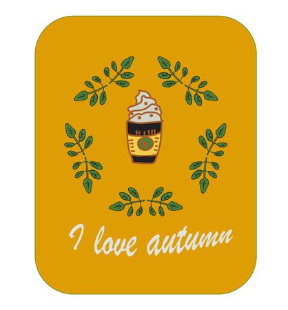 Cartoon autumn set, i love coffee and autumn, card for print Illustration