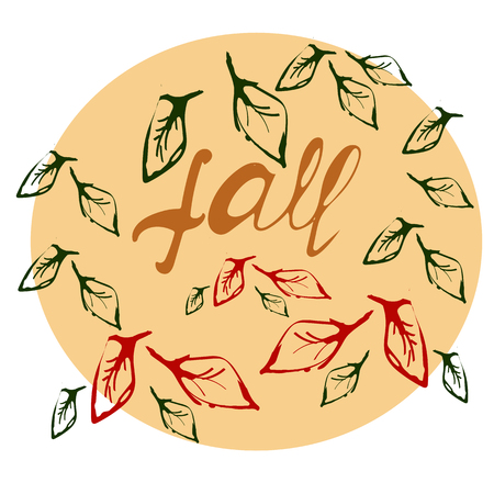 Welcome autumn typography in circle. Elegant brush calligraphy. Inspirational quote about fall, vector
