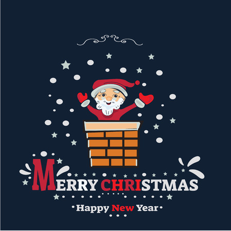 Merry Christmas banner. Santa Claus stuck in the chimney city rooftops. Gift box. Concept poster, greeting card, flyer. Cartoon style. Vector Illustration