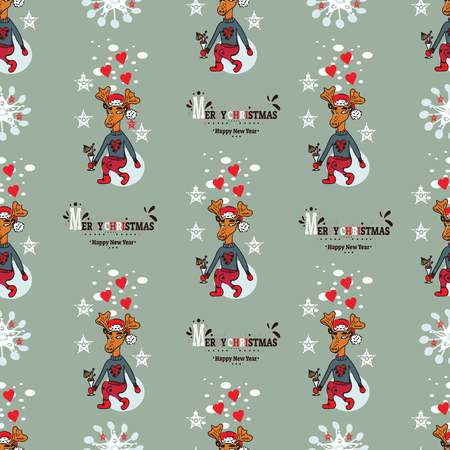 New Year's Christmas pattern with deer