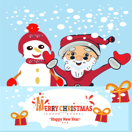Merry Christmas and Happy New Year. Illustration of deer and snowman, vector.