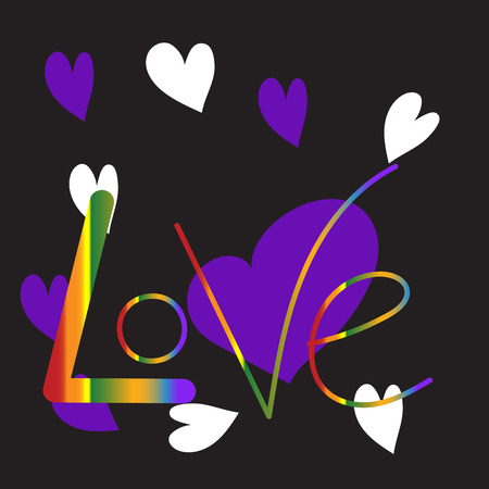 Glowing inscription LOVE on a black background Illustration
