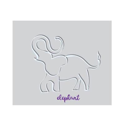 Simple modern elephant logo, elegant and stylish, paper Vectores