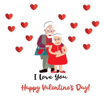 Lovely old couple. Vector illustration. Valentine Day Illustration