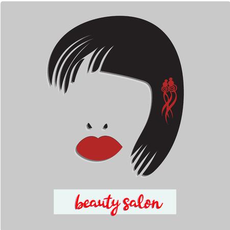 女性の長いヘアスタイルのアイコン、背景に女性の顔のロゴ、ベクトル、美しさのイラスト