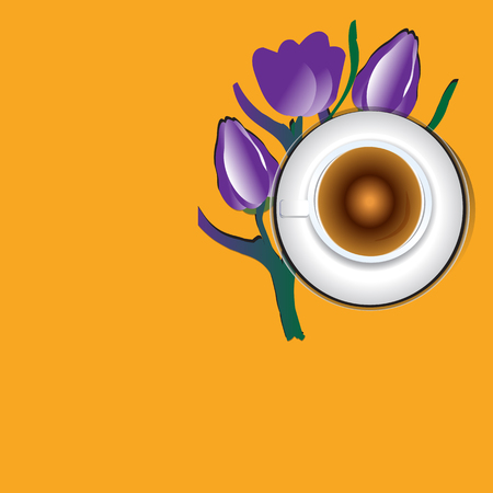 Violet tulips bouquet and coffee cup over bright table. Top view with copy space, vector