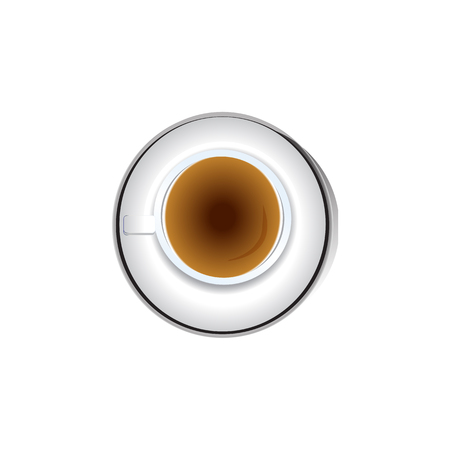 black coffee in a coffee cup top view isolated on white background. Vector illustration