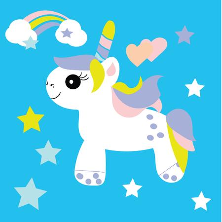 Vector illustration of cute unicorn. Baby print Illustration
