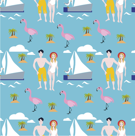 Summer holidays tropical vector design for banner or flyer with palm leaves, flowers, flamingos, seagull, sea star and ship.