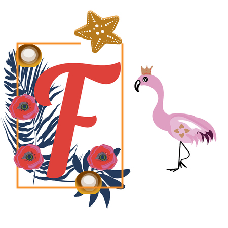 Cartoon Flamingo and letter F, tropical decoration, for baby book, vector Illusztráció