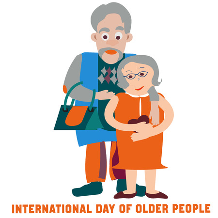 couple in love for day of older people. Flat modern vector illustration
