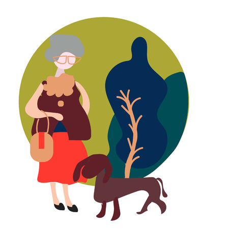 grandmother is walking in the park with her dog. Flat modern vector illustration Illustration