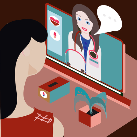 Video Conferencing With Female Doctor On Computer. Vector illustration. flat isometry. For banner in clinic, trendy