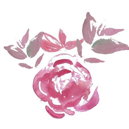 Ensemble aquarelle de fleurs de jardin rose clair et lilas : rose, pour la décoration de mariage Vecteurs