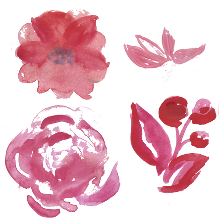 Watercolor set of light pink and lilac garden flowers: rose. anemona