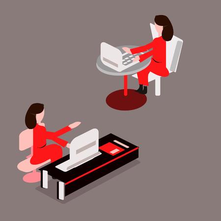 Femme d'affaires ou un employé travaillant à son bureau. Illustration vectorielle moderne style plat Horloge, isométrie Vecteurs