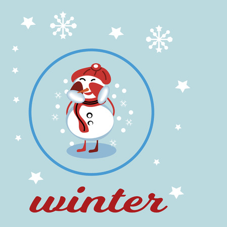 Christmas snowman isolated on blue background. Vector illustration. Hand drawn character, Winter Illustration