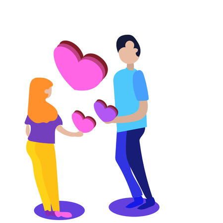 Man and woman in love. Valentine day,Couple vector illustration, isometric style Ilustração