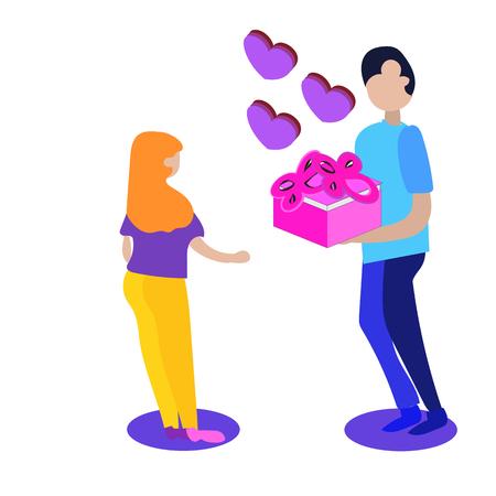 Mann und Frau verliebt. Valentinstag, Paarvektorillustration, isometrischer Stil