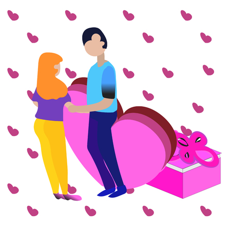 Man and woman in love. Valentine day,Couple vector illustration, isometric style Stock Illustratie