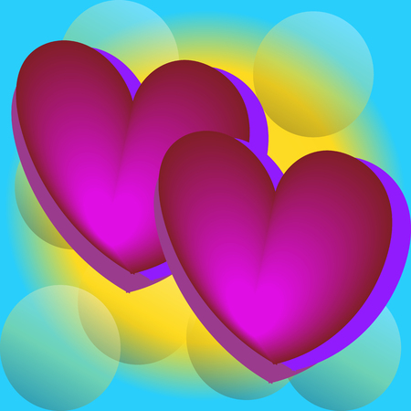Pink heart balloons in the blue sky, bright colors, Valentine day, birthday banner, anniversary. card 向量圖像