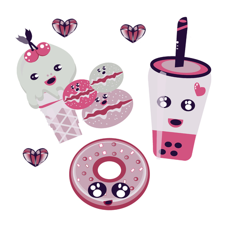 Set of cute sweet icons in kawaii style with smiling face and pink cheeks for sweet design. Donuts, candy, cap for food illustration. Heart