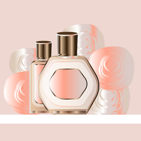 Fashion accessories collection. Toilet water perfume bottle with rose flower petals. Spring style organic cosmetics background. White and pink soft color romantic vector illustration design. Card Ilustração