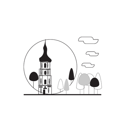 vector view from top simple sketch of capital city icon and other building Çizim
