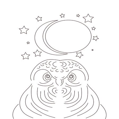 Owl linear icon. Chronotype. Thin line illustration. Emblem of wisdom. Contour symbol. Vector isolated outline drawing. Editable stroke,Moon