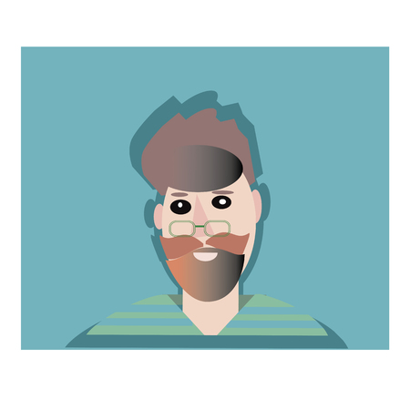 Man with beard in glass flat style icon. Male character vector illustration. Illustration