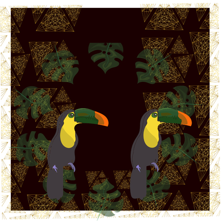 toucan with tropical flower and leave background, card, strelitzia