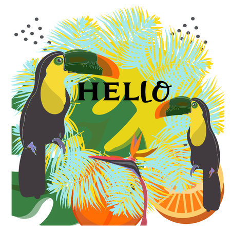Tropical summer arrangement with toucan, palm leaves and exotic flowers. Vector illustration.hello