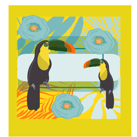 toucan with tropical flower and leave background 矢量图像