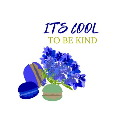 Kindness vector design. Lavandula and macaroon, slogan Çizim