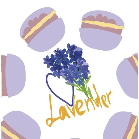 Seamless vector pattern. Lavender taste macarons and lavander flowers pattern . Useful for gifts wrapping.