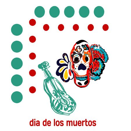 Day of The Dead Skull, banner or postcard, decoration tattoo