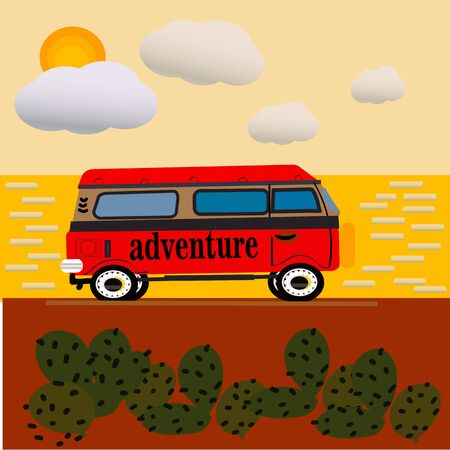 Vector illustration of a retro van with sunset background Vektorgrafik