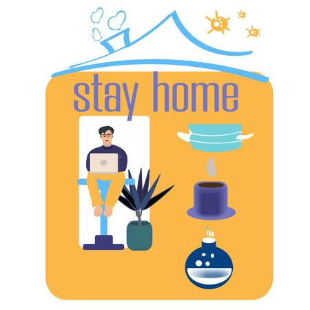 I stay at home awareness social media campaign and coronavirus prevention man works home