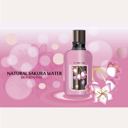 Sakura perfume ads, realistic style perfume in a glass bottle on blur rose background with bokeh with sakura flowers. Great advertising poster for promoting a new fragrance Vector template.
