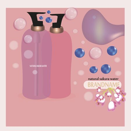 Sakura perfume ads, realistic style perfume in bottle on blurred blue background with bokeh with sakura flowers. Great advertising poster for promoting a new fragrance Vector template.banner
