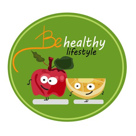 cute cartoon fruit in sticker.World health day concept with healty lifestyle illustration.