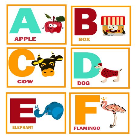 educational cards for kids, a for apple,b for box,online learning, vector